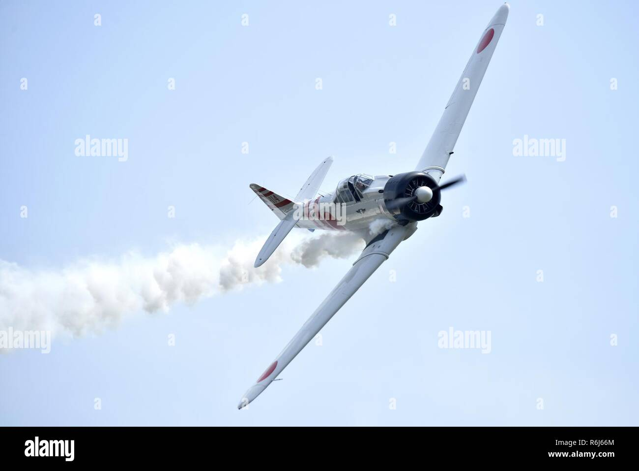 A Japanese Mitsubishi A6M Zero aircraft performs as part of the 'Tora! Tora! Tora!' performance during the Wings Over Wayne Air Show, May 21, 2017, at Seymour Johnson Air Force Base, North Carolina. The installation is open to the public for two, free, daylong air and ground demonstration performances. - Stock Image