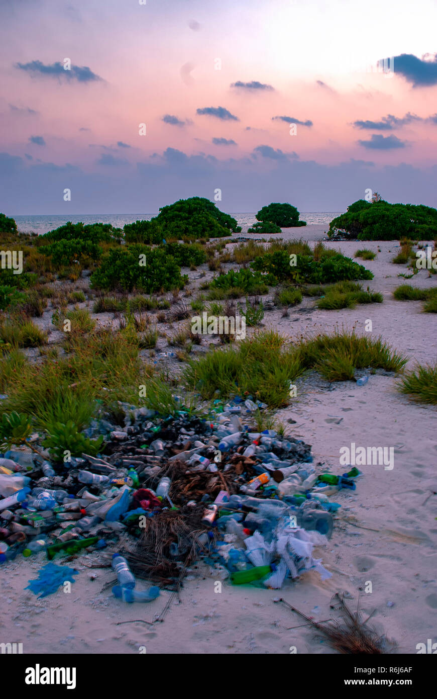Litter on a tropical uninhabited island in the Indian Ocean Stock Photo