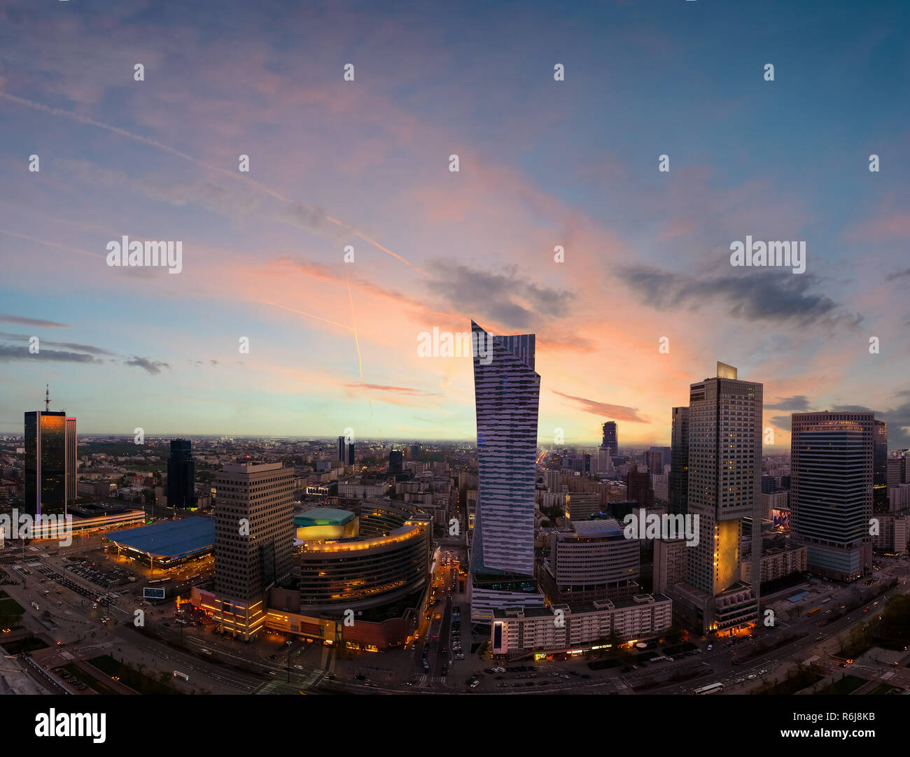 Panorama of Warsaw city with modern skyscraper in sunset time, Poland, Europe. - Stock Image