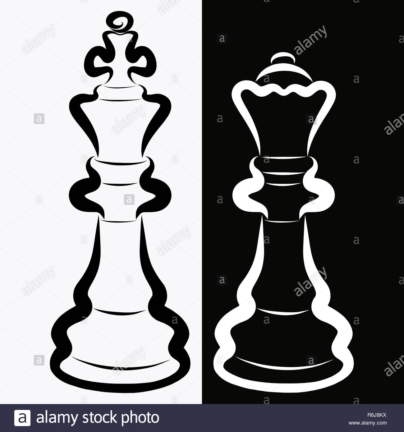 Chess pieces black king and white queen rivalry or romance
