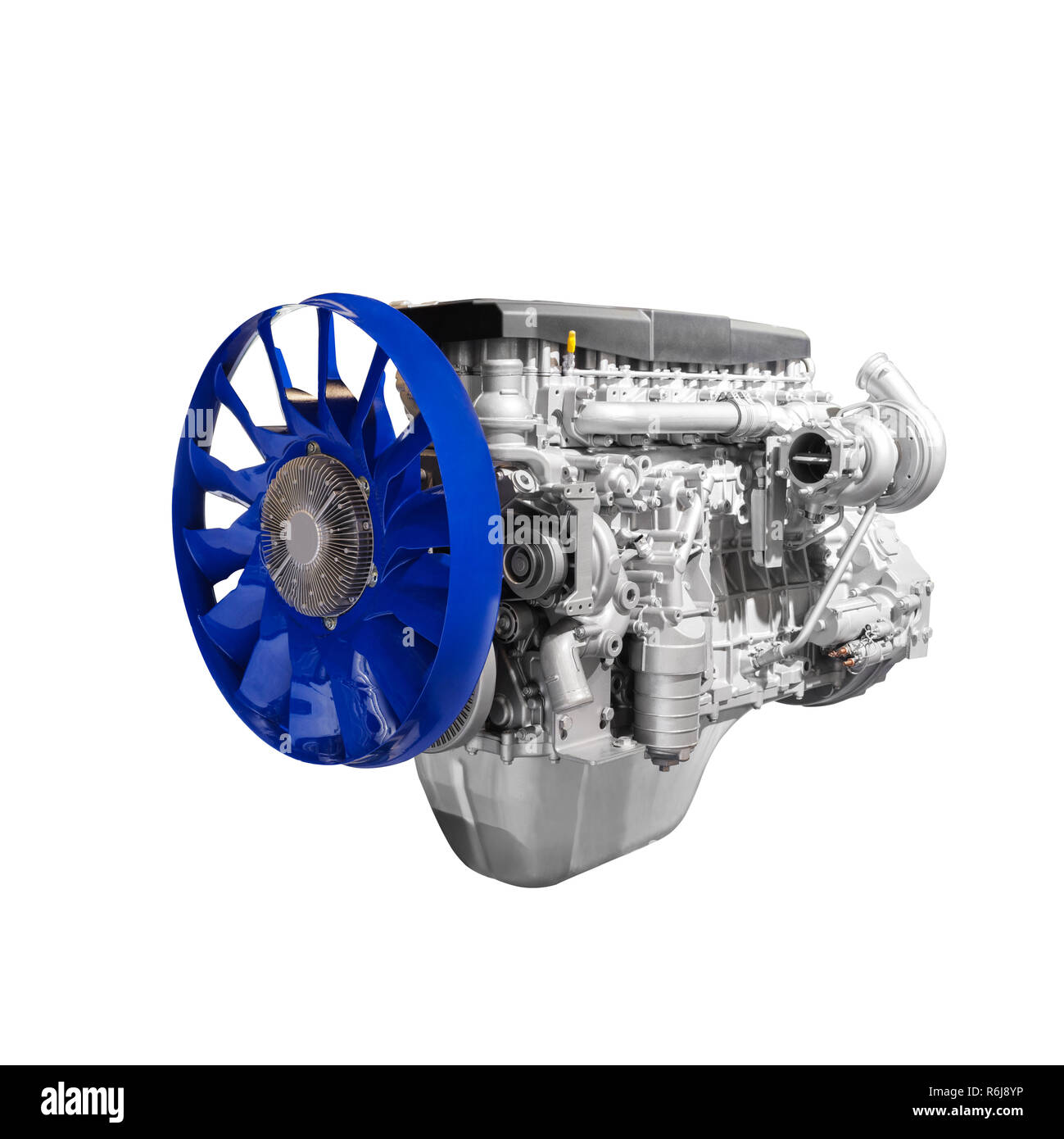 Modern heavy duty truck diesel turbodiesel engine isolated on white background - Stock Image
