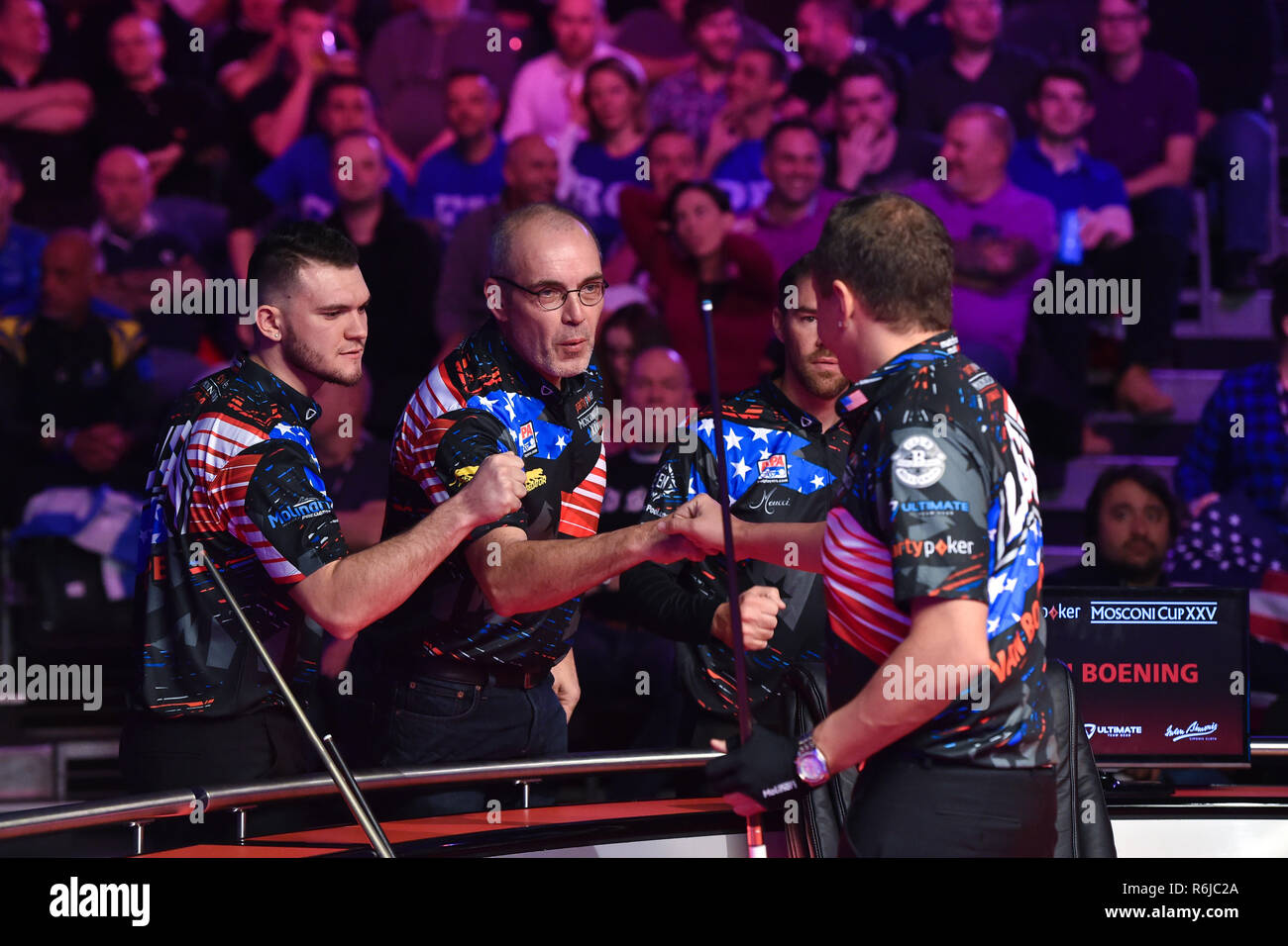 London, UK. 5th Dec, 2018. Team USA: Jahan Ruijsink, Jeremy Jones, Skyler Woodward, Shane van Boening, Billy Thorpe, Tyler Styer and Corey Deuel during The Partypoker Mosconi Cup 2018: on Day 2 event - Jayson Shaw (SCO) v Shane van Boening (USA) at Alexandra Palace on Wednesday, 05 December 2018. LONDON, ENGLAND. (Editorial use only, license required for commercial use. No use in betting, games or a single club/league/player publications.) Credit: Taka Wu/Alamy Live News - Stock Image