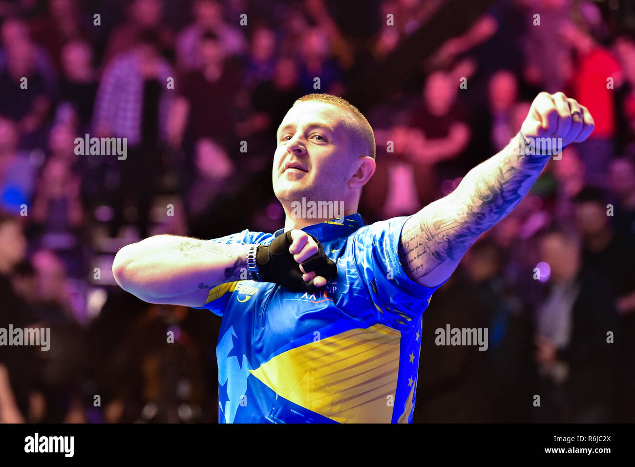 London, UK. 5th Dec, 2018. Jayson Shaw of Scotland during The Partypoker Mosconi Cup 2018: on Day 2 event - Jayson Shaw (SCO) v Shane van Boening (USA) at Alexandra Palace on Wednesday, 05 December 2018. LONDON, ENGLAND. (Editorial use only, license required for commercial use. No use in betting, games or a single club/league/player publications.) Credit: Taka Wu/Alamy Live News - Stock Image