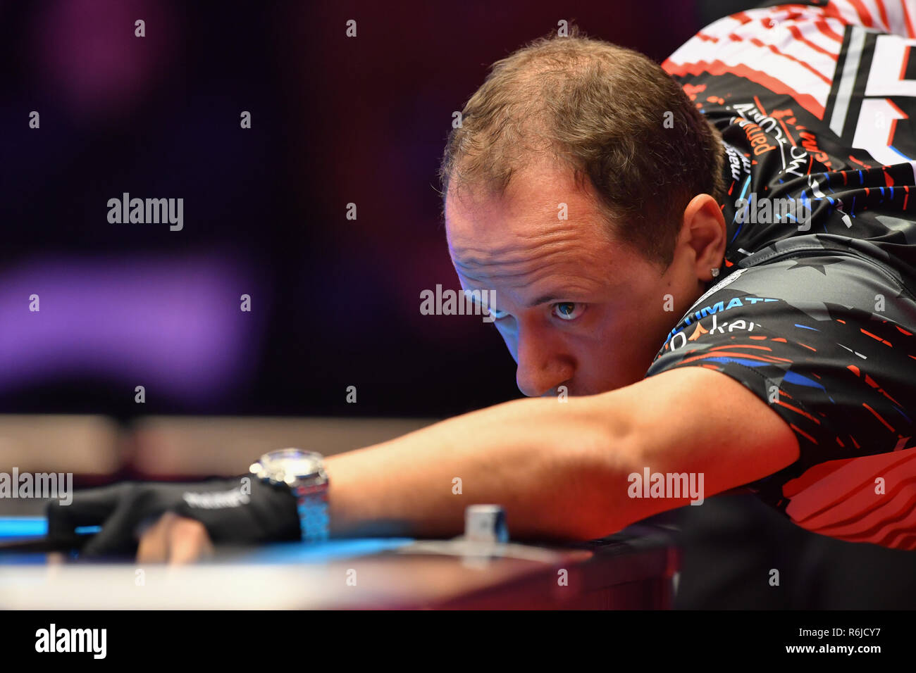 London, UK. 5th Dec, 2018. Skyler Woodward of USA/Shane van Boening of USA during The Partypoker Mosconi Cup 2018: on Day 2 event - Niels Feijen/Alex Kazakis (EUR) v Skyler Woodward/Shane van Boening at Alexandra Palace on Wednesday, 05 December 2018. LONDON, ENGLAND. (Editorial use only, license required for commercial use. No use in betting, games or a single club/league/player publications.) Credit: Taka Wu/Alamy Live News - Stock Image