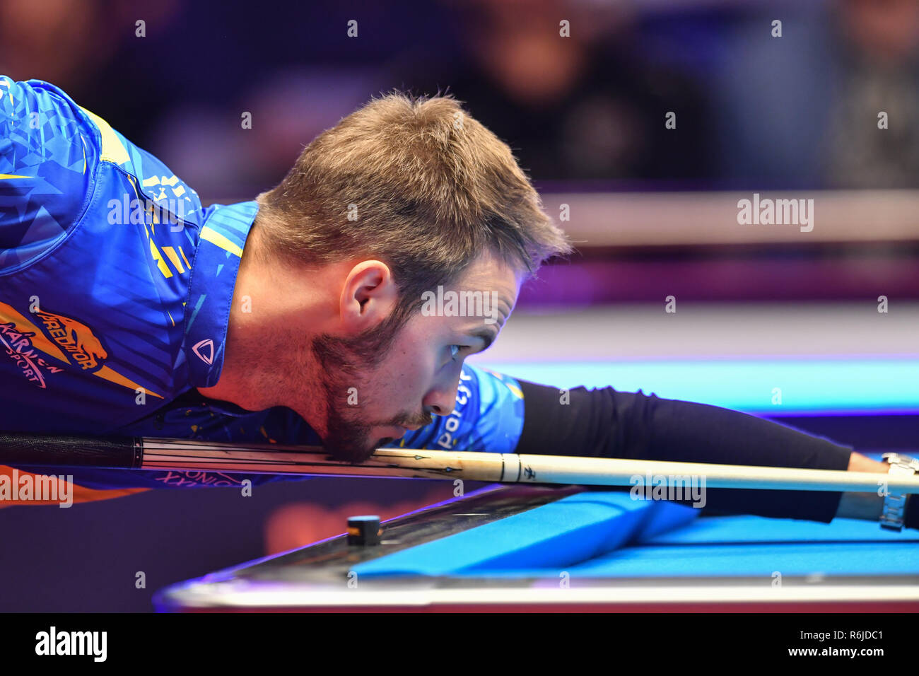 London, UK. 05th Dec, 2018. Albin Ouschan of Austria during The Partypoker Mosconi Cup 2018: on Day 2 event - Albon Ouschan of Austria v Corey Deuel of USA at Alexandra Palace on Wednesday, 05 December 2018. LONDON, ENGLAND. (Editorial use only, license required for commercial use. No use in betting, games or a single club/league/player publications.) Credit: Taka G Wu/Alamy News Credit: Taka Wu/Alamy Live News - Stock Image