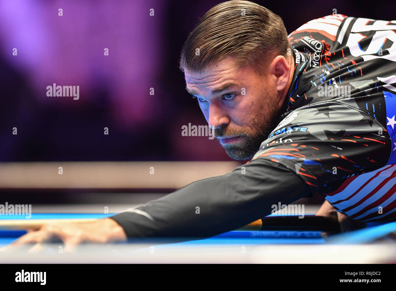 London, UK. 05th Dec, 2018. Corey Deuel of USA during The Partypoker Mosconi Cup 2018: on Day 2 event - Albon Ouschan of Austria v Corey Deuel of USA at Alexandra Palace on Wednesday, 05 December 2018. LONDON, ENGLAND. (Editorial use only, license required for commercial use. No use in betting, games or a single club/league/player publications.) Credit: Taka G Wu/Alamy NewsCorey Deuel of USA Credit: Taka Wu/Alamy Live News - Stock Image