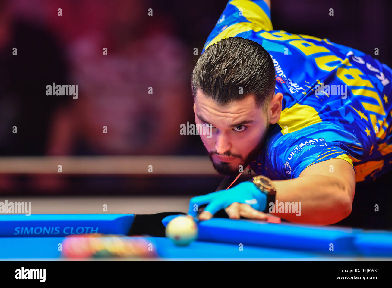 London, UK. 06th Dec, 2018. Eklent Caci of Albania during The Partypoker Mosconi Cup 2018: on Day 2 event - Eklent Caci of Albania v Billy Thorpe of USA at Alexandra Palace on Wednesday, 05 December 2018. LONDON, ENGLAND. (Editorial use only, license required for commercial use. No use in betting, games or a single club/league/player publications.) Credit: Taka G Wu/Alamy News Credit: Taka Wu/Alamy Live News - Stock Image