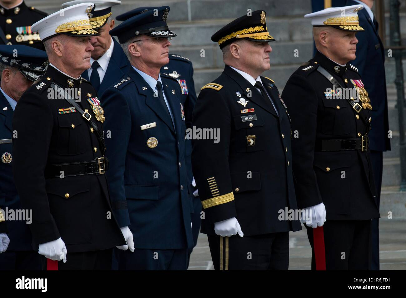 d5cd05f84 Members of the U.S. Joint Service Chiefs stand at attention outside  Washington National Cathedral following the