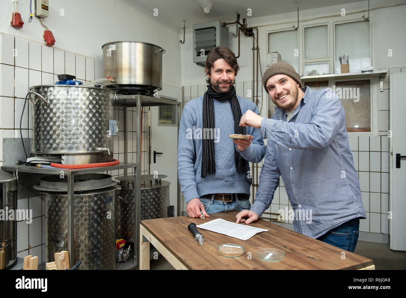 "Kassel, Germany. 22nd Nov, 2018. Johannes Alt (l) and Erik Schäfer, owner of the Steckenpferd brewery, stand with a bowl of wheat malt at the brewery in the brewery. (to dpa ""Successful in the niche - Craft beer brewers assert themselves on the market"" of 06.12.2018) Credit: Swen Pförtner/dpa/Alamy Live News Stock Photo"
