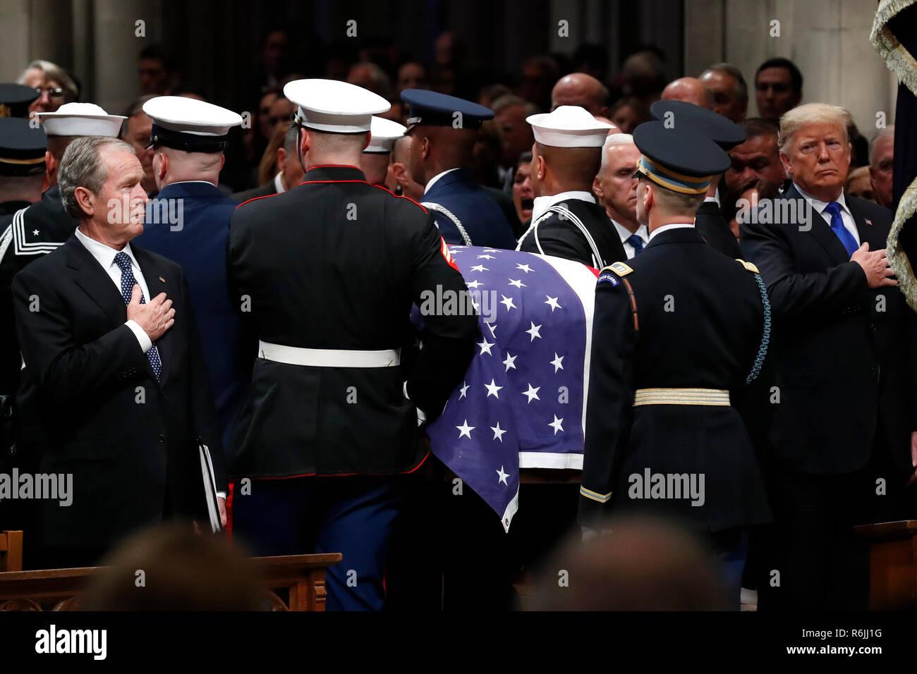 former president george w bush left and president donald trump