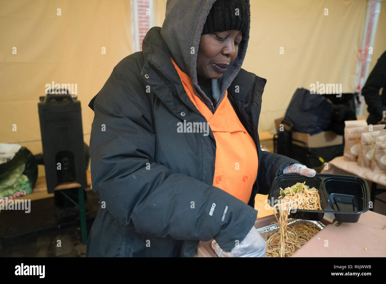 At a farmers' market in Manhattan's South Street Seaport, a woman sold sesame noodles and egg rolls that she had made. - Stock Image