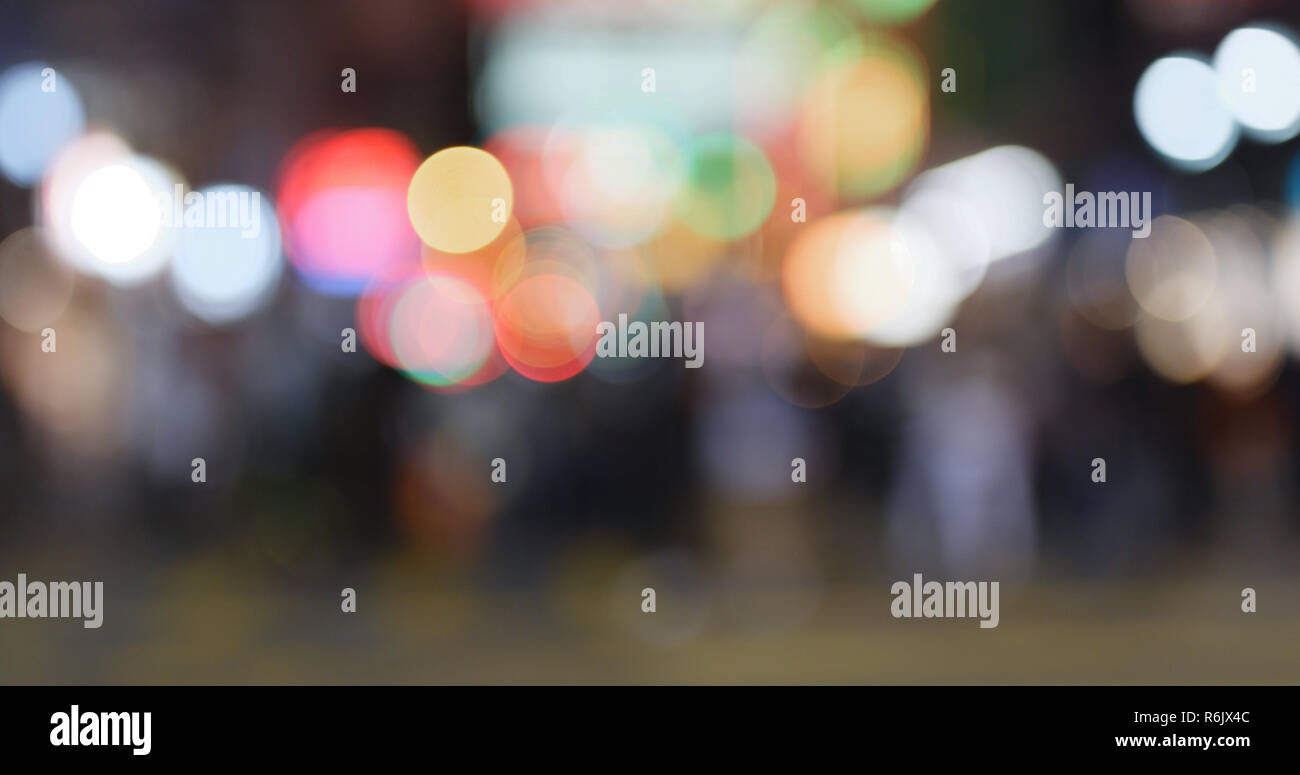 Blur view of the street at night - Stock Image