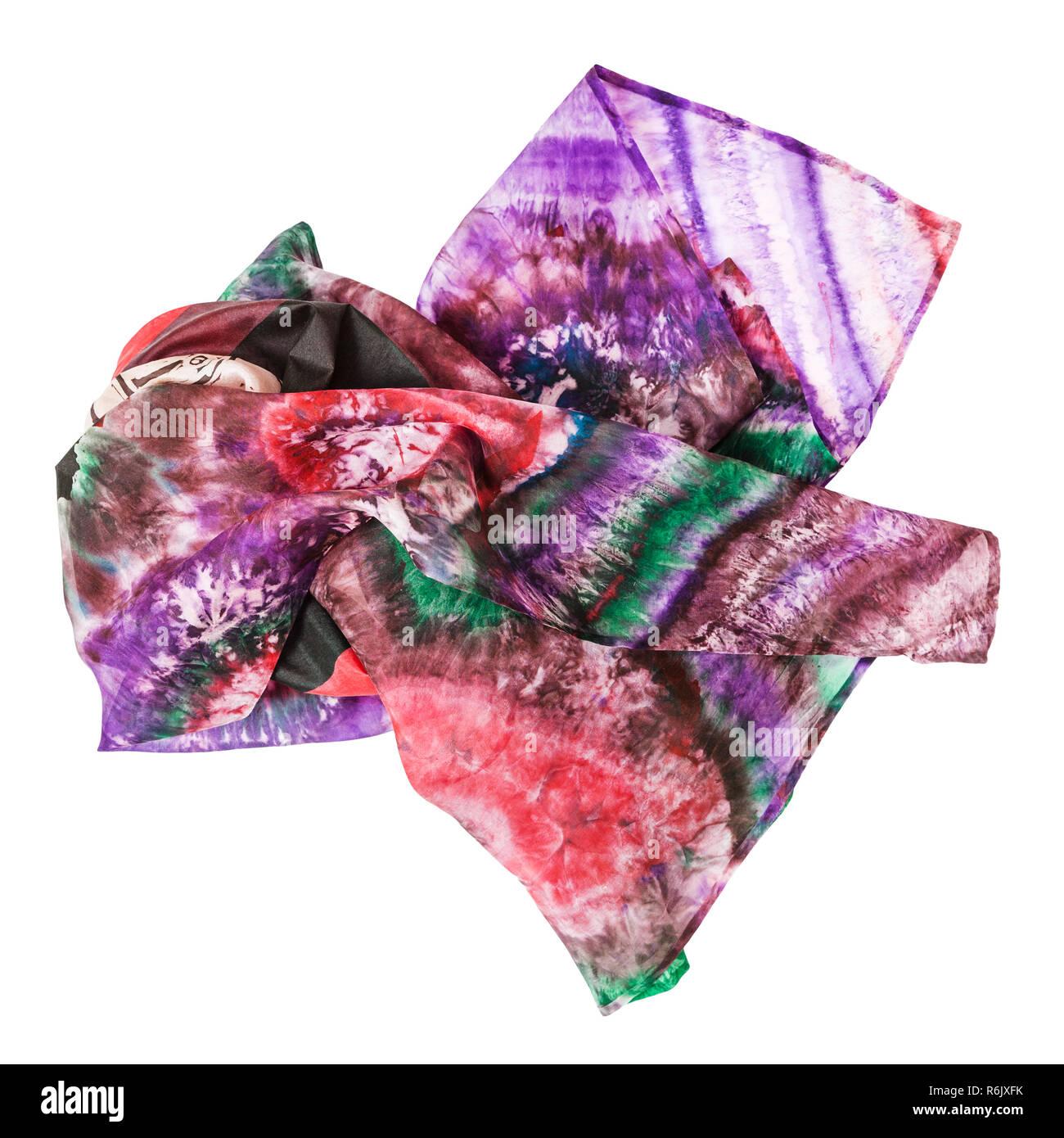crumpled pink batik headscarf isolated - Stock Image