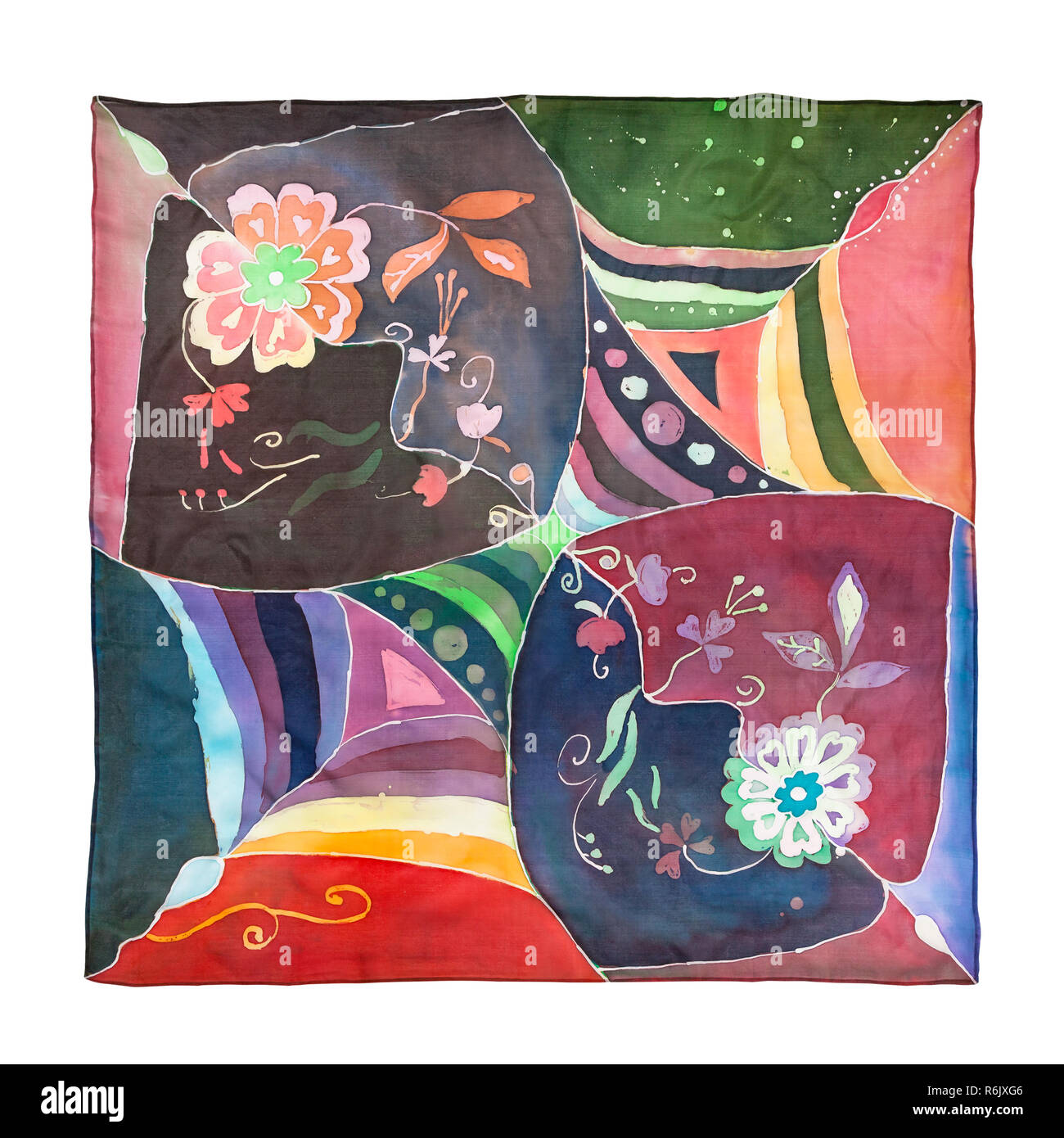 top view of hand painted batik silk headscarf - Stock Image