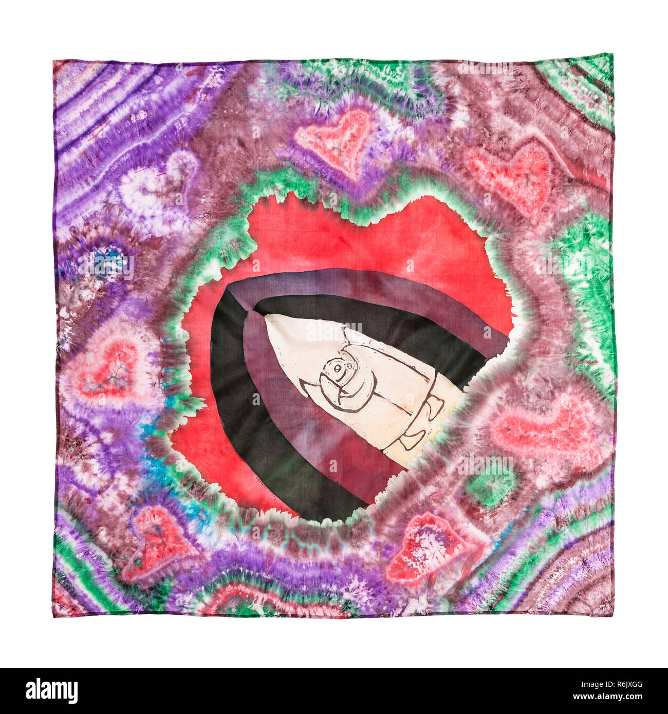 headscarf with abstract love pattern isolated - Stock Image