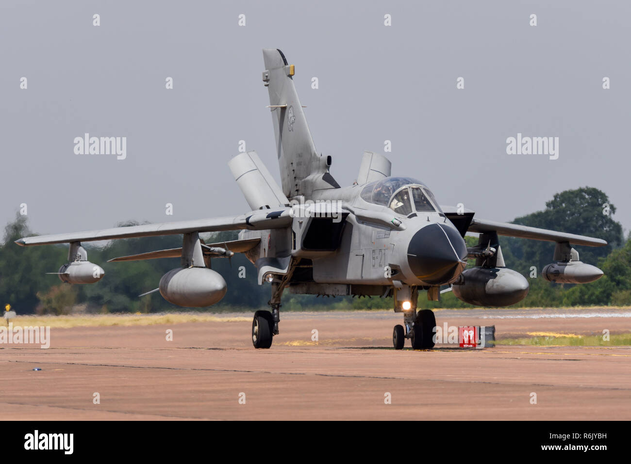Italian Air Force Panavia Tornado IDS at Royal International Air Tattoo, RIAT, RAF Fairford airshow.  MM7031, 6-21 of Aeronautica Militare. Air Brakes - Stock Image