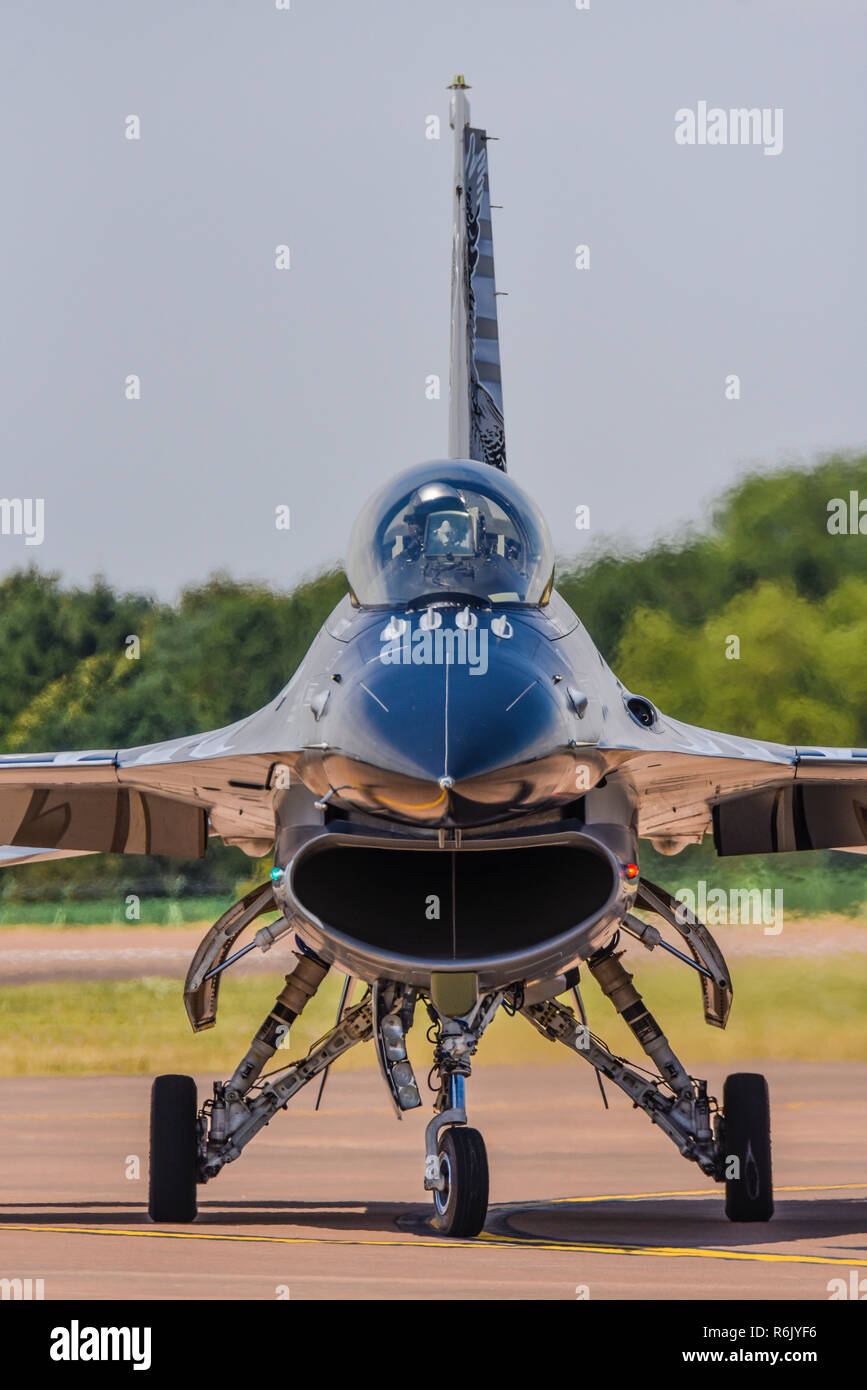General Dynamics F-16 Fighting Falcon fighter jet plane at Royal International Air Tattoo, RIAT, RAF Fairford airshow. Lockheed F16 front, profile Stock Photo
