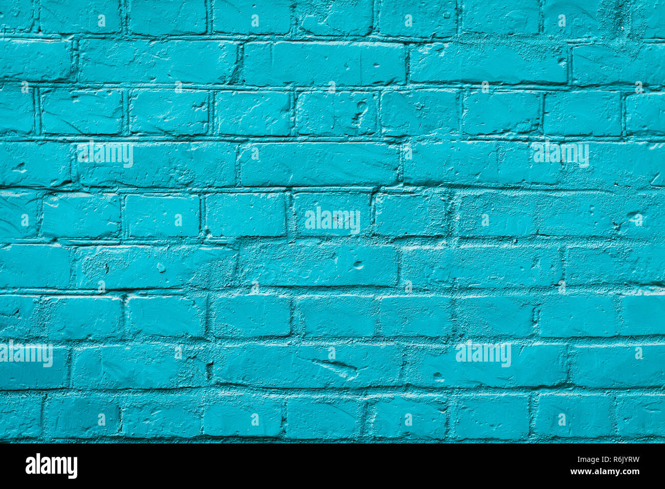Painted brick wall, blue color, urban background. Horizontal texture. For abstract backdrop, pattern, wallpaper or banner design Stock Photo