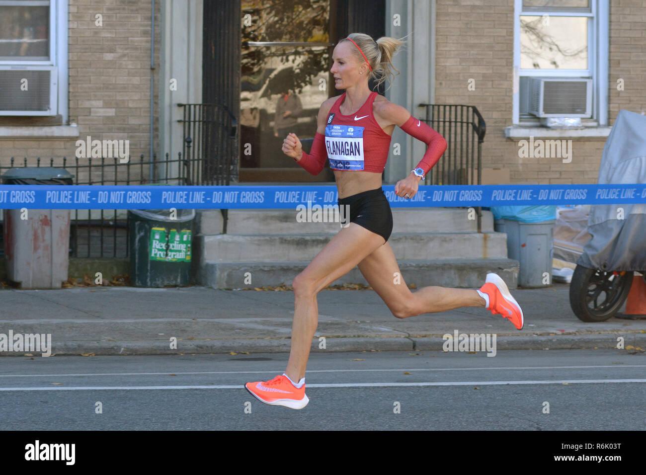 2018 TCS New York City Marathon -  Runners make their way through Queens  Featuring: Shalane Flanagan Where: New York, New York, United States When: 04 Nov 2018 Credit: Ivan Nikolov/WENN.com Stock Photo