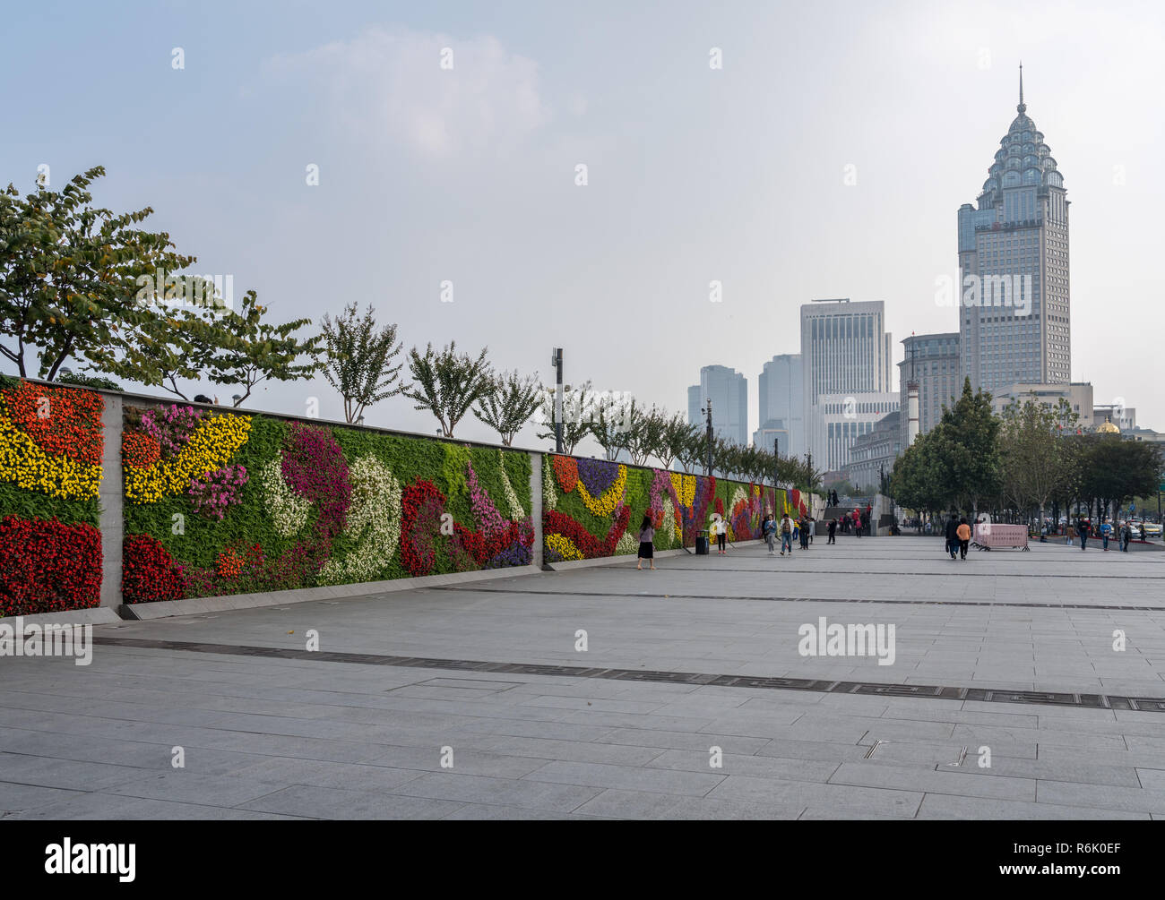 Floral Wall Garden With Downtown Shanghai Skyline Stock