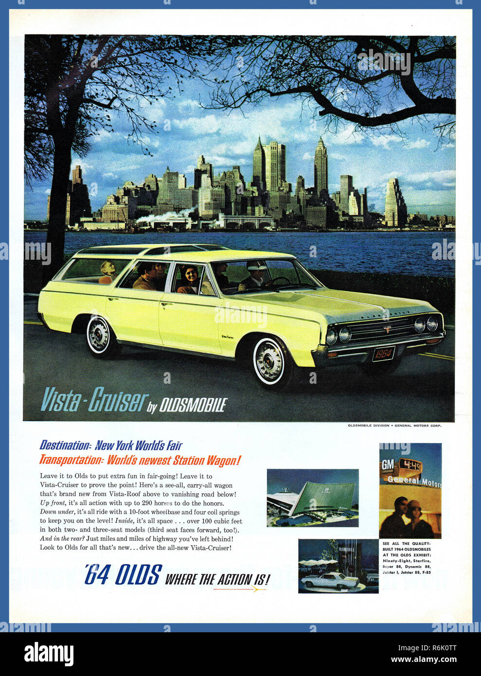 VISTA CRUISER OLDSMOBILE Vintage American Automobile Press Advertisement 1960's coinciding with New York Worlds Fair. New York City Manhattan in background  The Oldsmobile Vista Cruiser 1964 '64 OLDS a station wagon manufactured and marketed by Oldsmobile over three generations from 1964 to 1977. - Stock Image