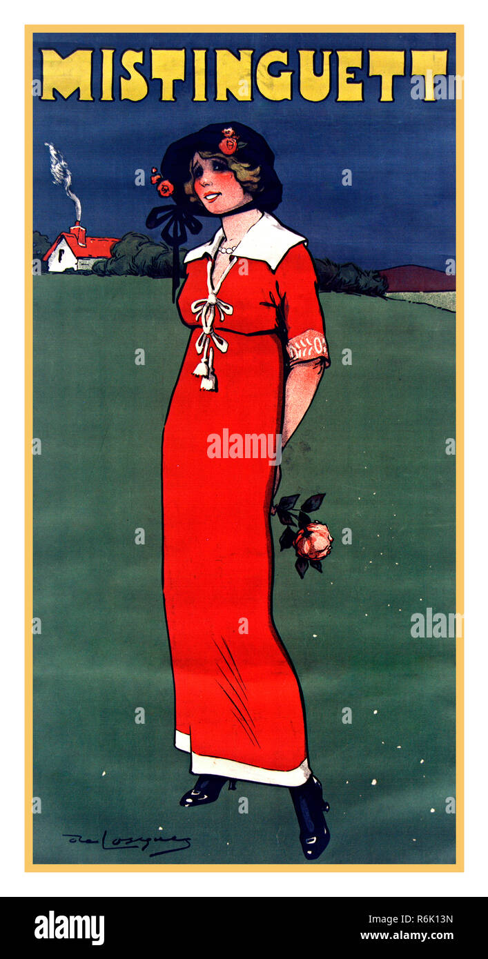 Vintage entertainment Poster Mistinguett French Entertainment Poster Mistinguett French 1875–1956,  female variety film actress and singer France - Stock Image