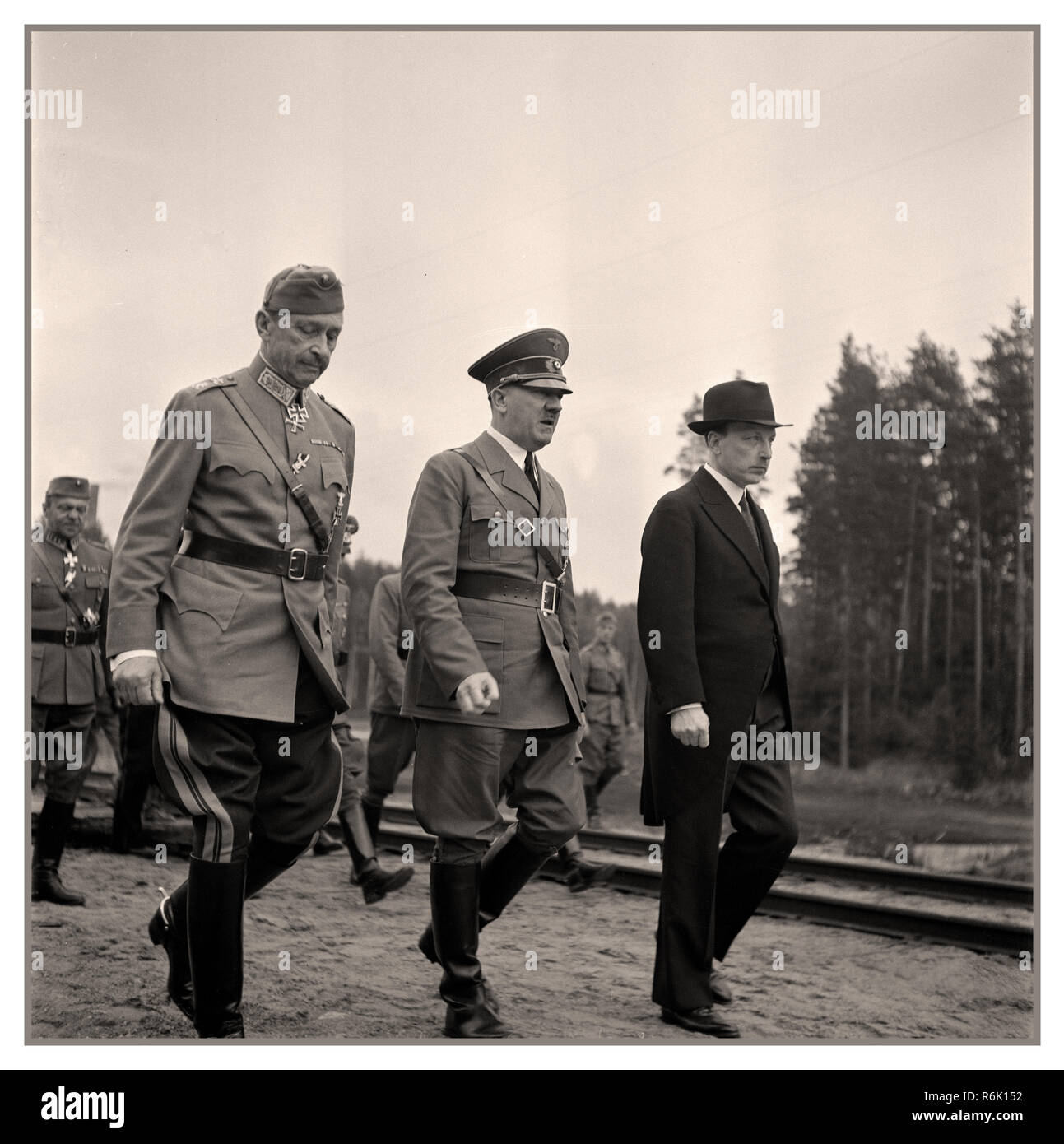 Field Marshall Mannerheim Adolf Hitler and Finnish President Ryti June 4th 1942 during Hitler's visit to Immola Finland - Stock Image