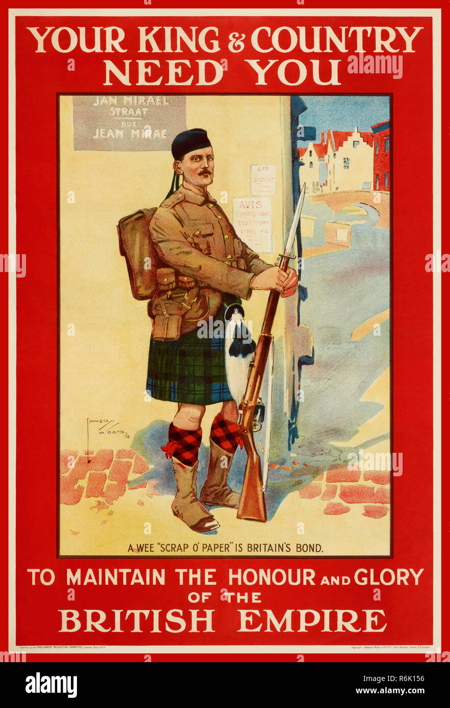 Vintage WW1 British recruitment propaganda poster 'YOUR KING & COUNTRY NEED YOU' To maintain the honour and glory of the BRITISH EMPIRE.  Illustrating a Scots guard in kilt standing at ease on a French street 1914 World War One/ First World War/ World War 1 - Stock Image