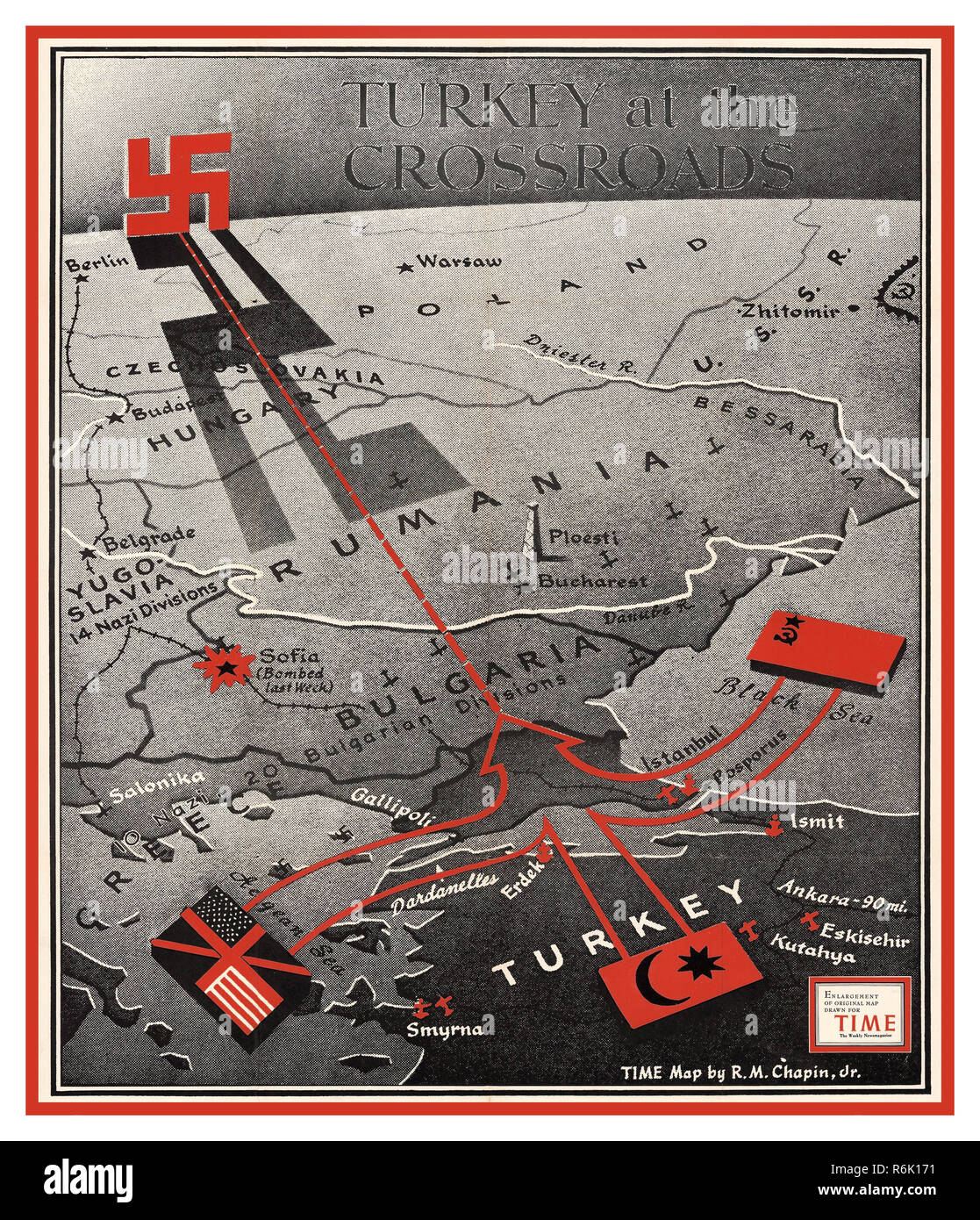 Vintage WW2 1943 press article 'Turkey at the Crossroads', published in Time Magazine DEC 20th 1943 Turkey remained neutral until the final stages of World War II and tried to maintain an equal distance between both the Axis and the Allies until February 1945, when Turkey entered the war on the side of the Allies against Germany and Japan. - Stock Image