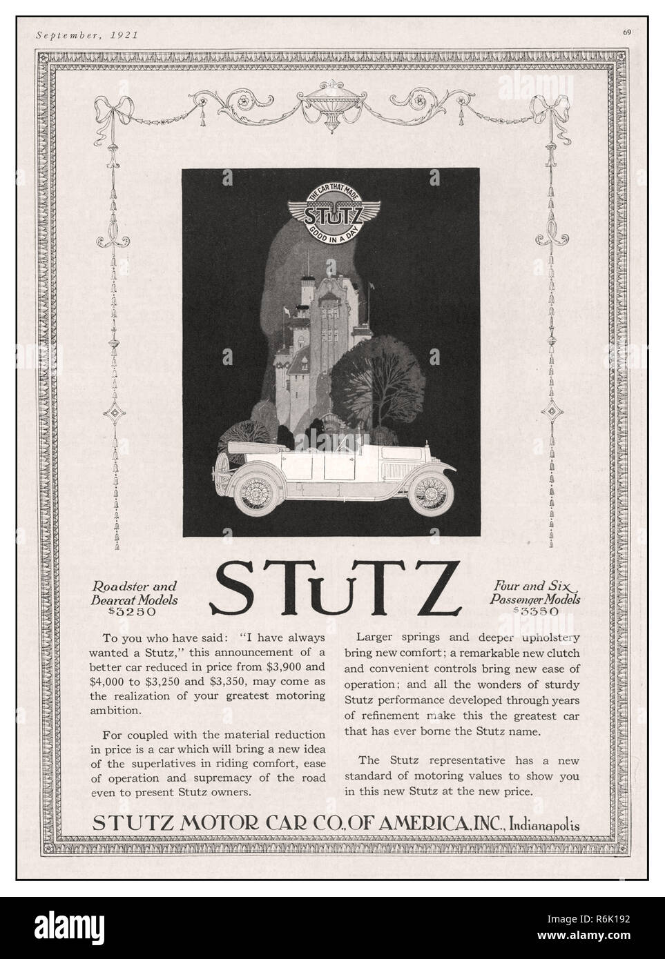 Vintage 1920s Stuz Press Magazine Advertisement For Roadster And