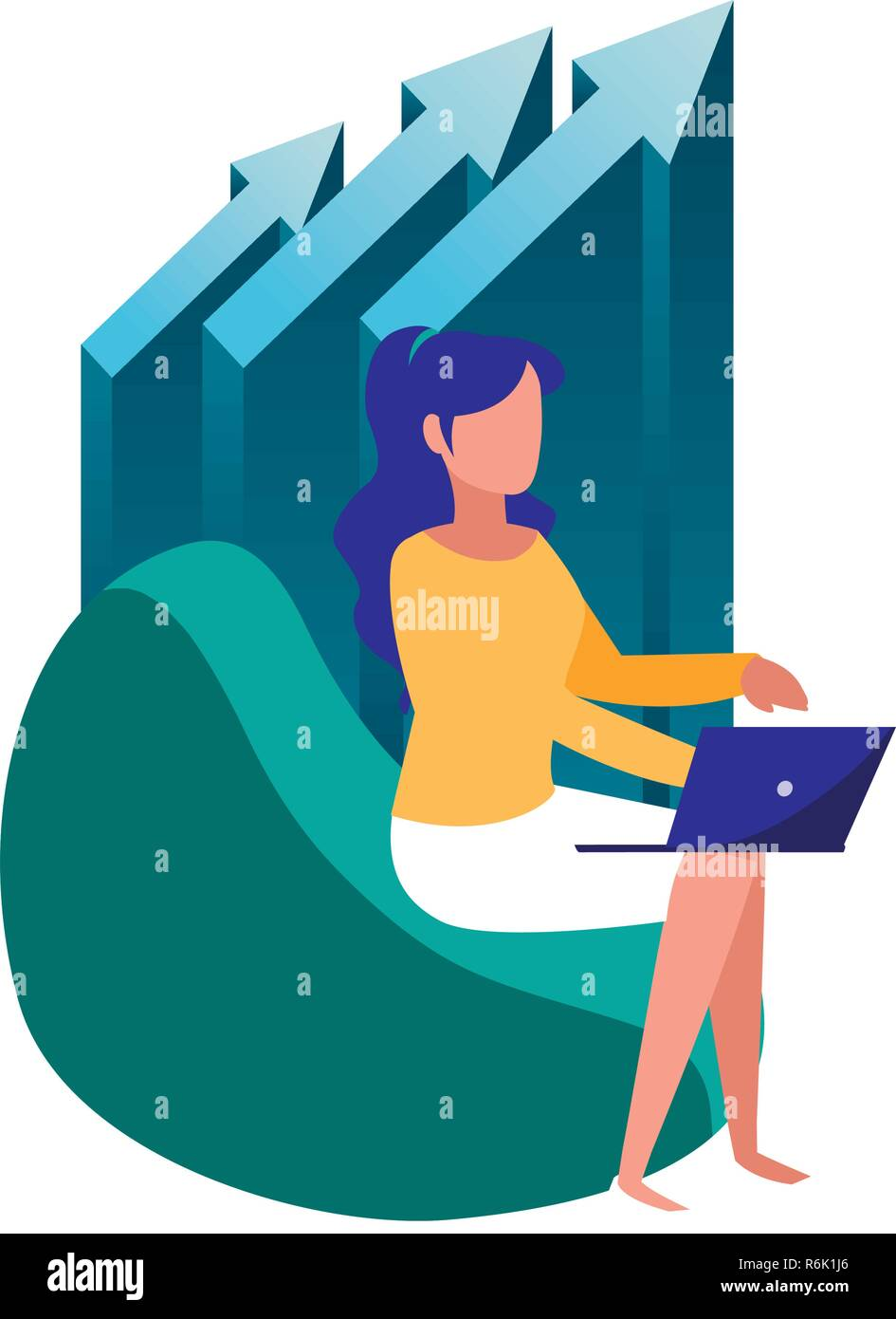 business woman sitting with laptop vector illustration - Stock Vector