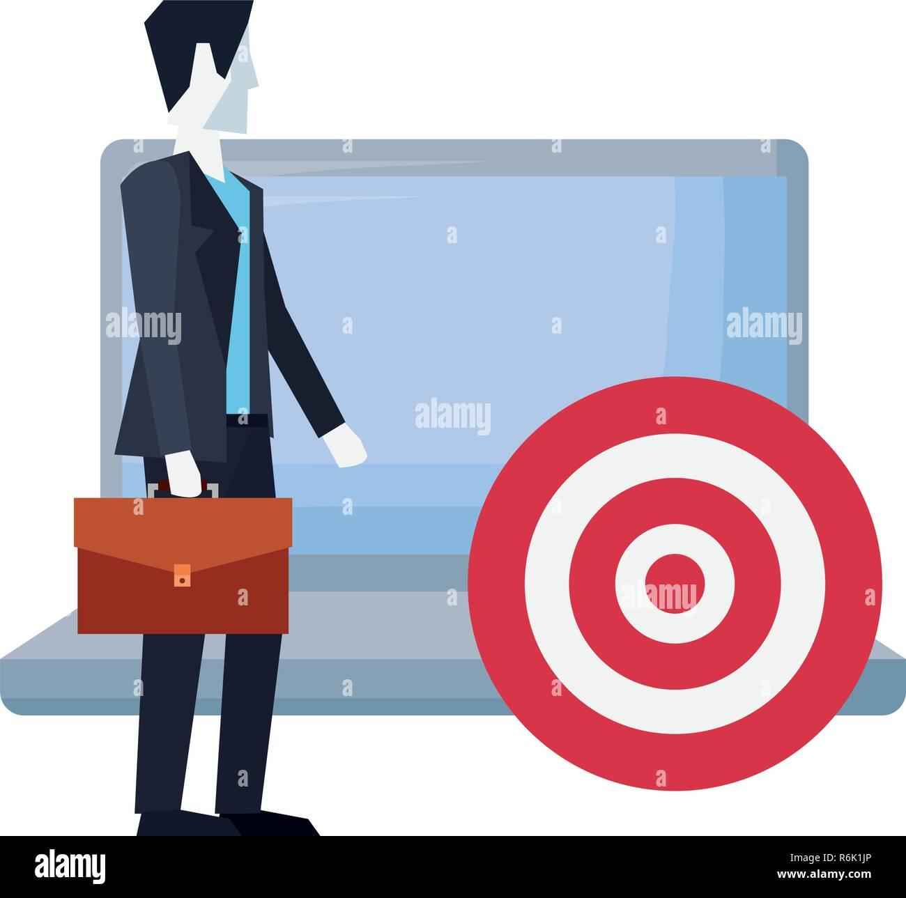 e676de0bd286 businessman holding briefcase with laptop target vector illustration ...