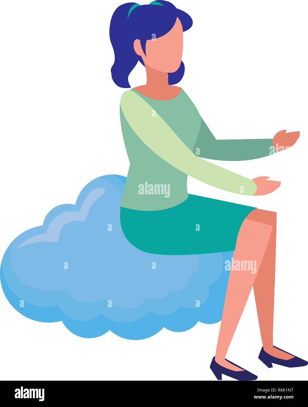 woman sitting on cloud white background vector illustration - Stock Vector