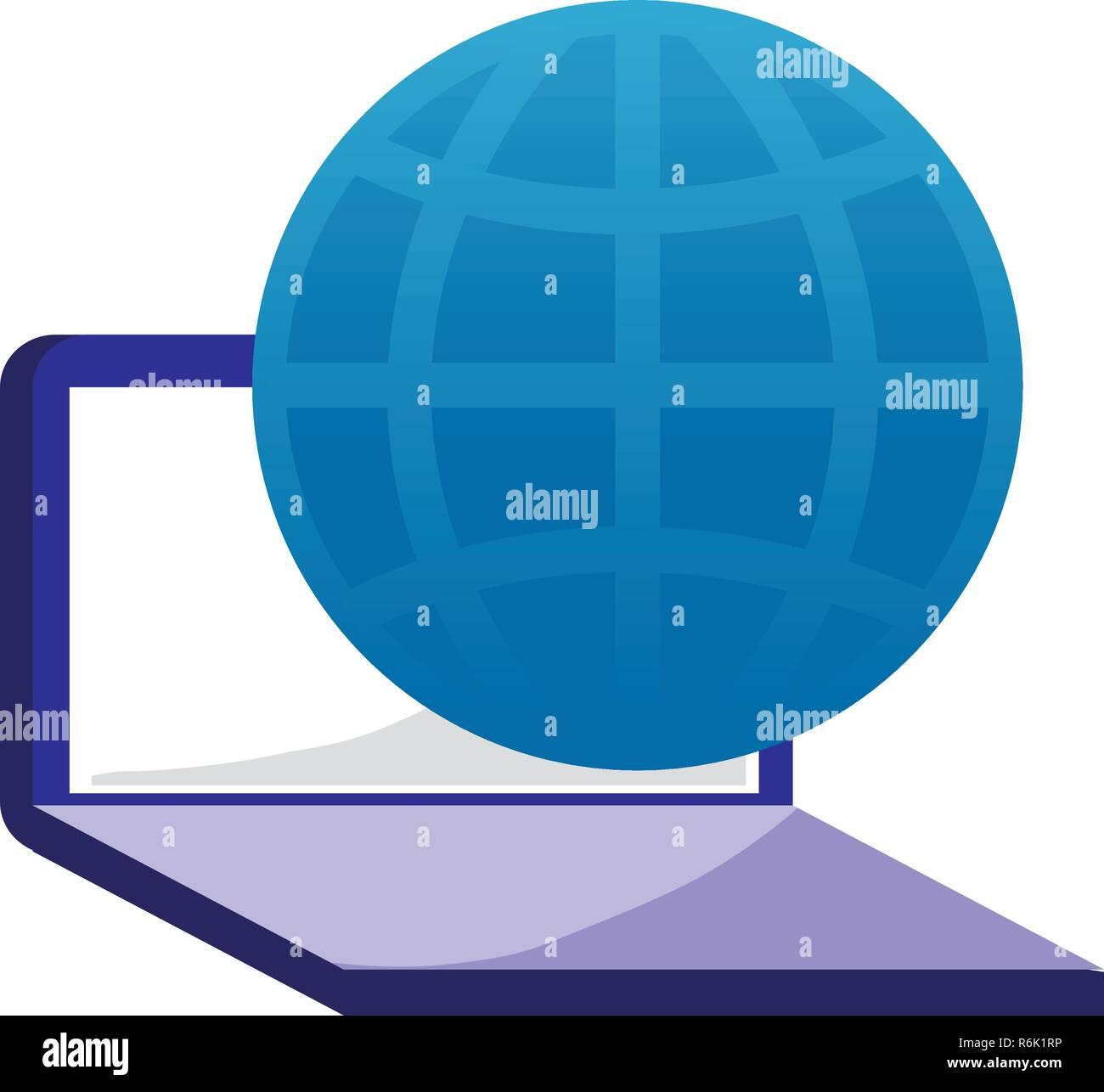 laptop computer world digital technology vector illustration - Stock Image