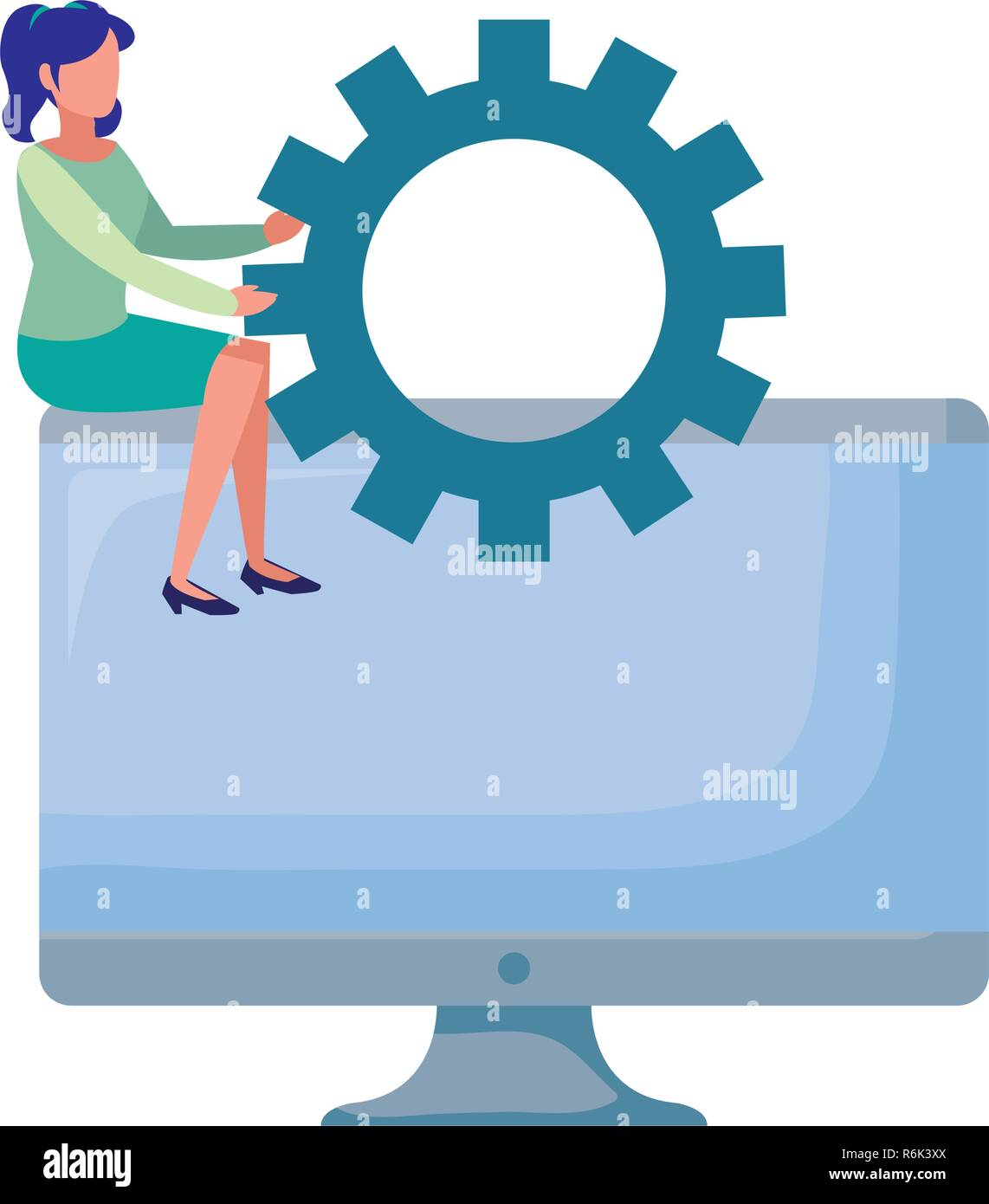 business woman sitting on computer with gear vector illustration - Stock Vector