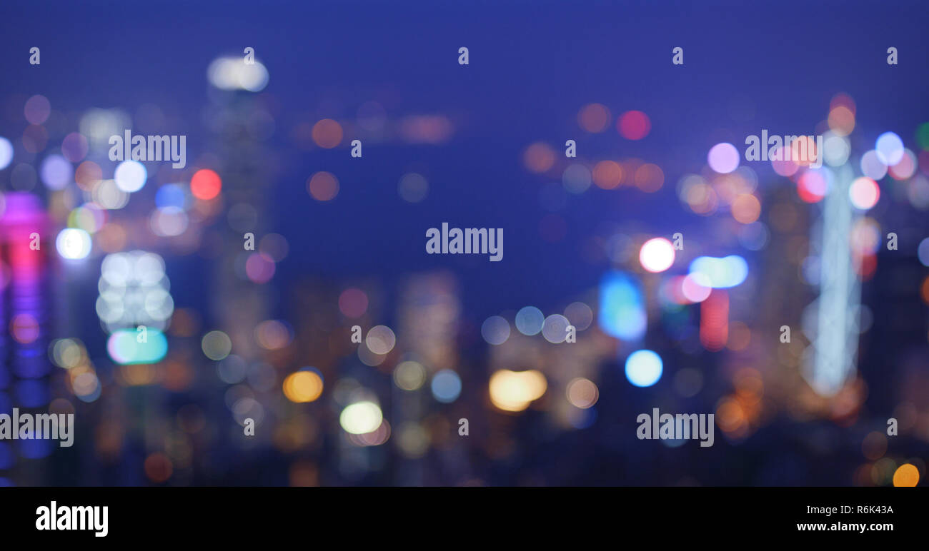 Blur view of street in the city at night - Stock Image