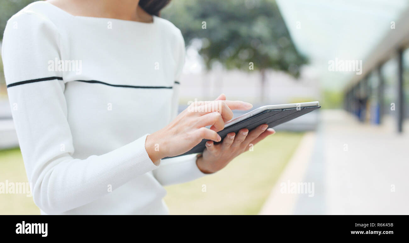 Woman use of tablet computer Stock Photo