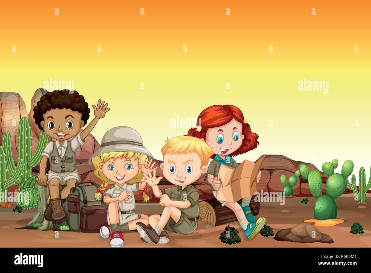 Boy and girl scout at desert illustration - Stock Vector