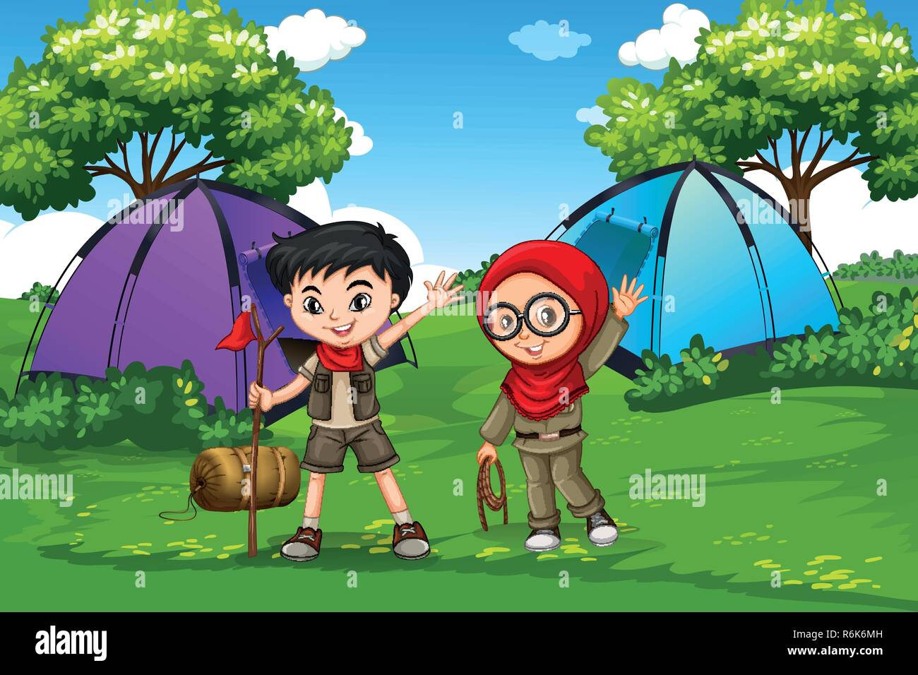 Boy and girl scout camping in forest illustration - Stock Vector