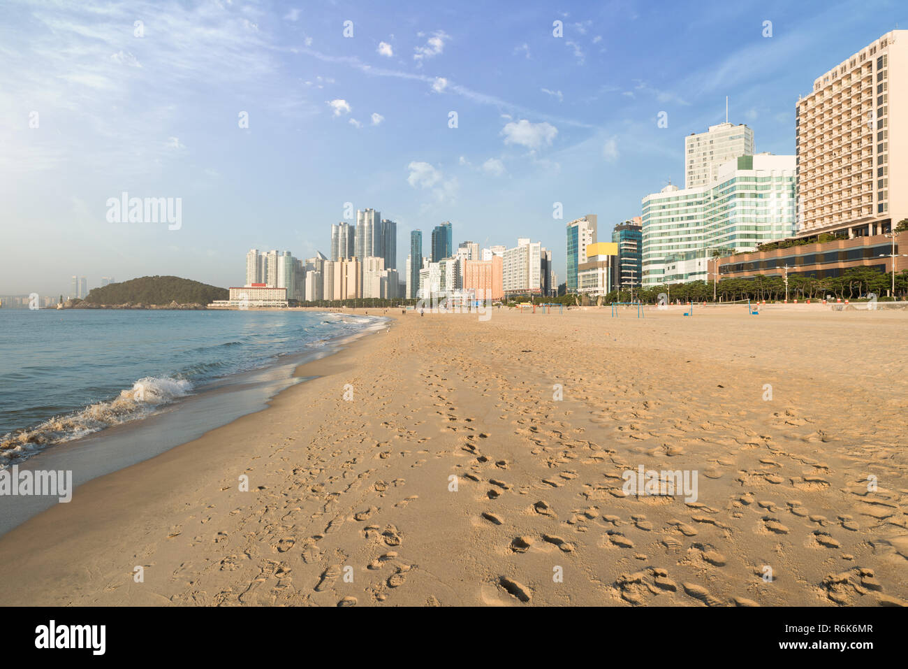 Haeundae beach is Busan's most popular beach because of its easy access from downtown Busan. And It is one of the most famous beaches in South Korea. - Stock Image