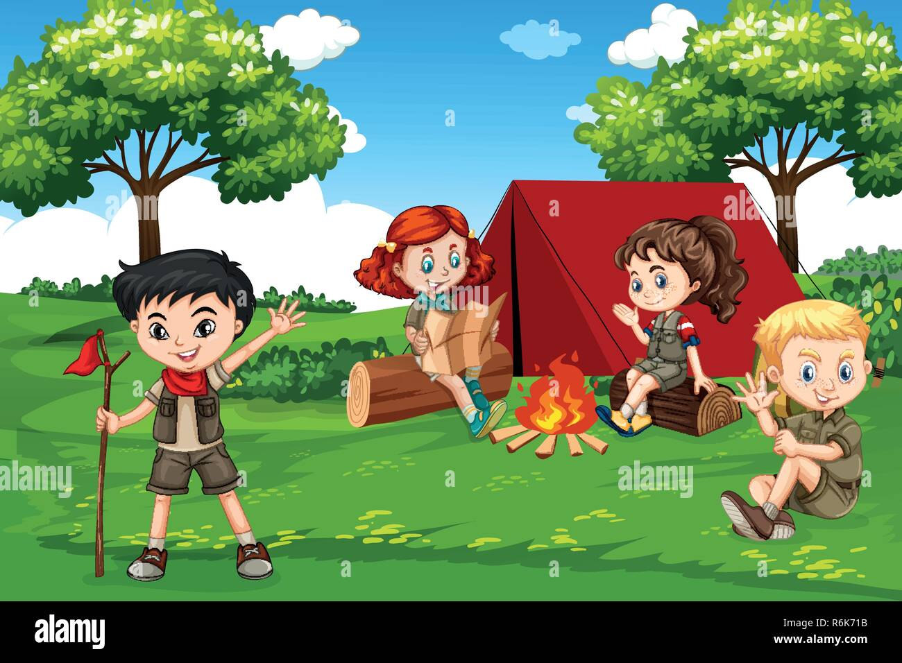 Children camping in nature illustration - Stock Vector