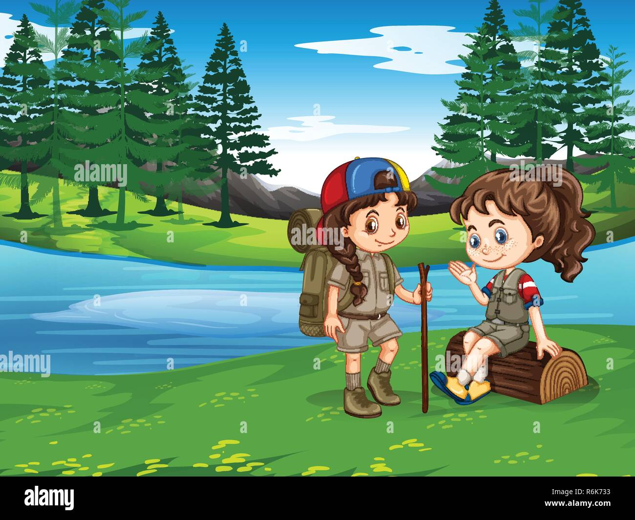 Girl scout hiking in nature illustration - Stock Vector