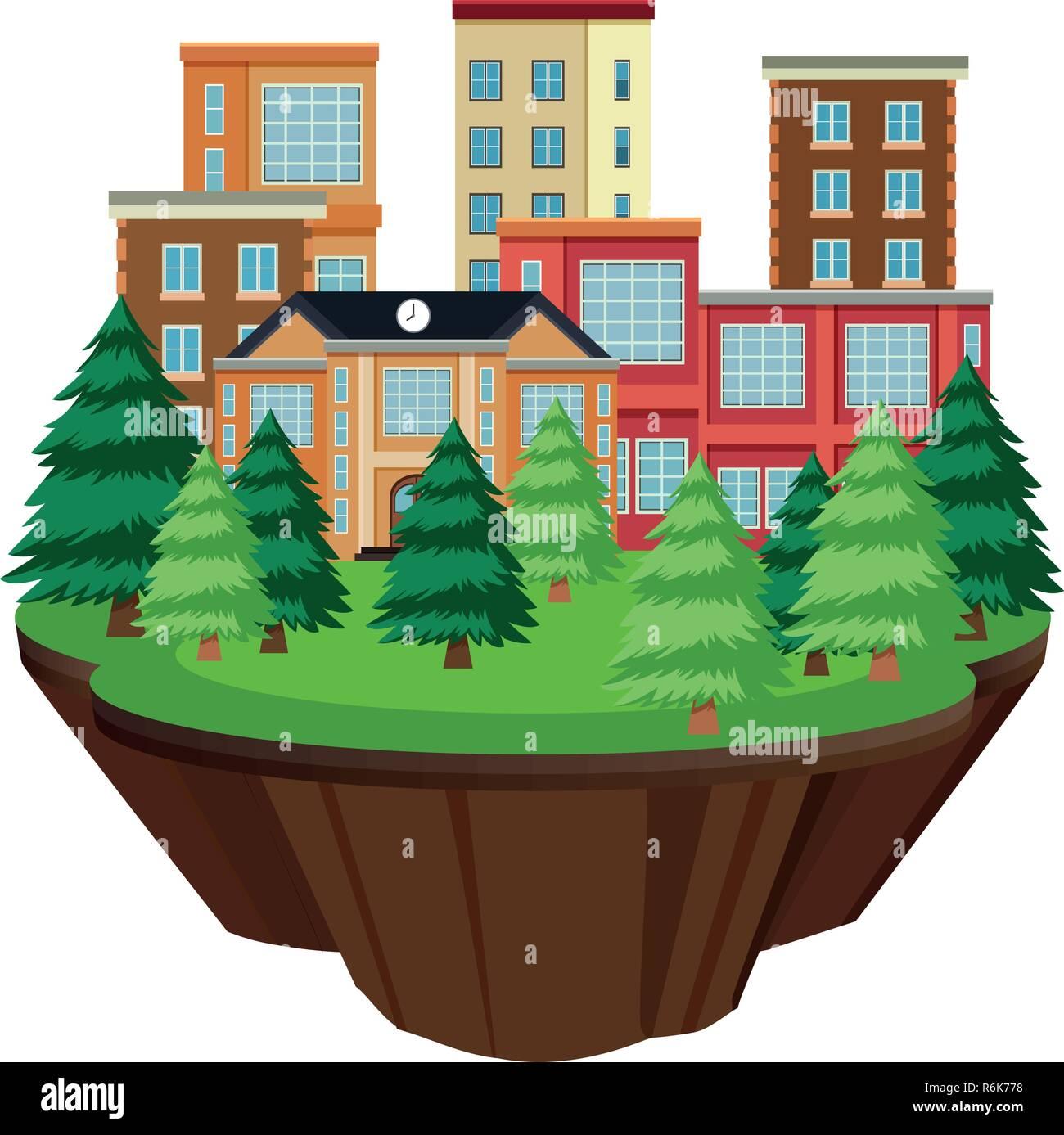 Isolated island urban building illustration - Stock Vector