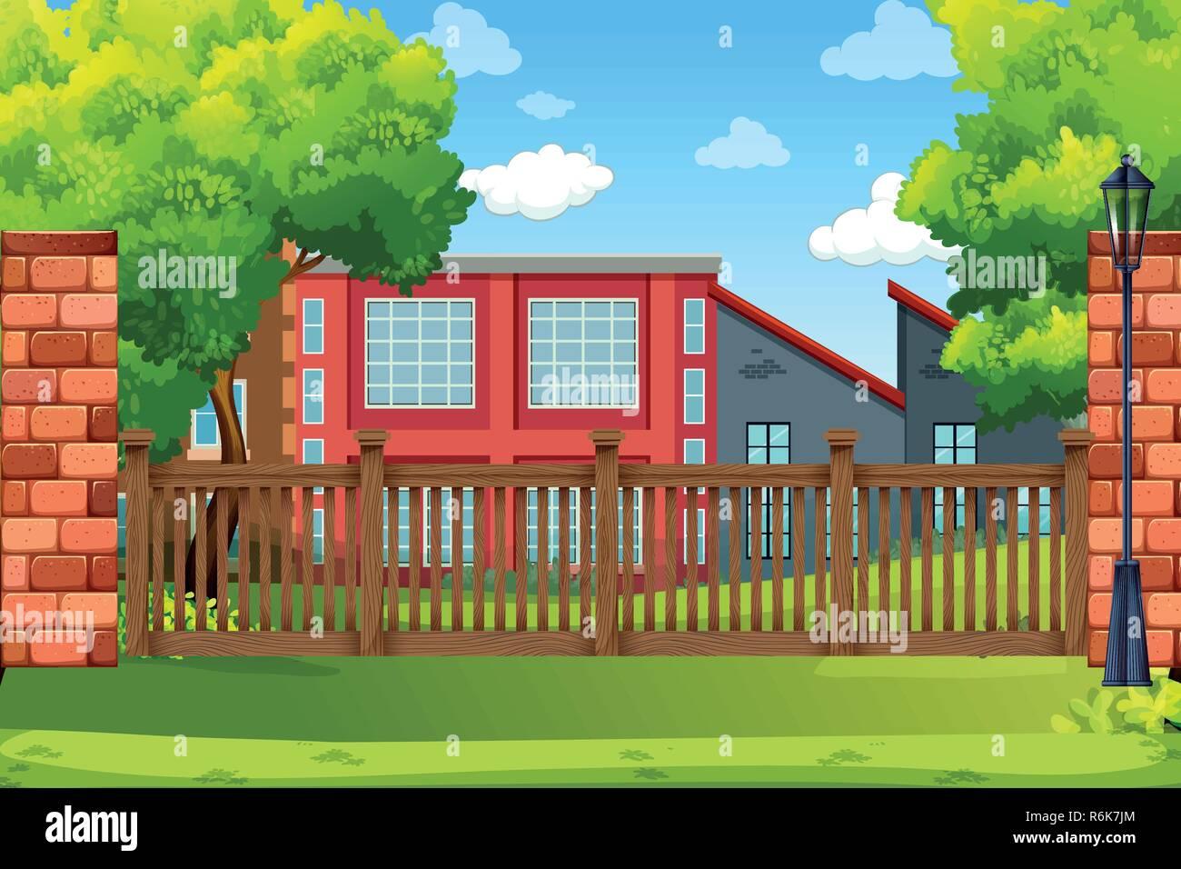 Building in park scene illustration - Stock Vector