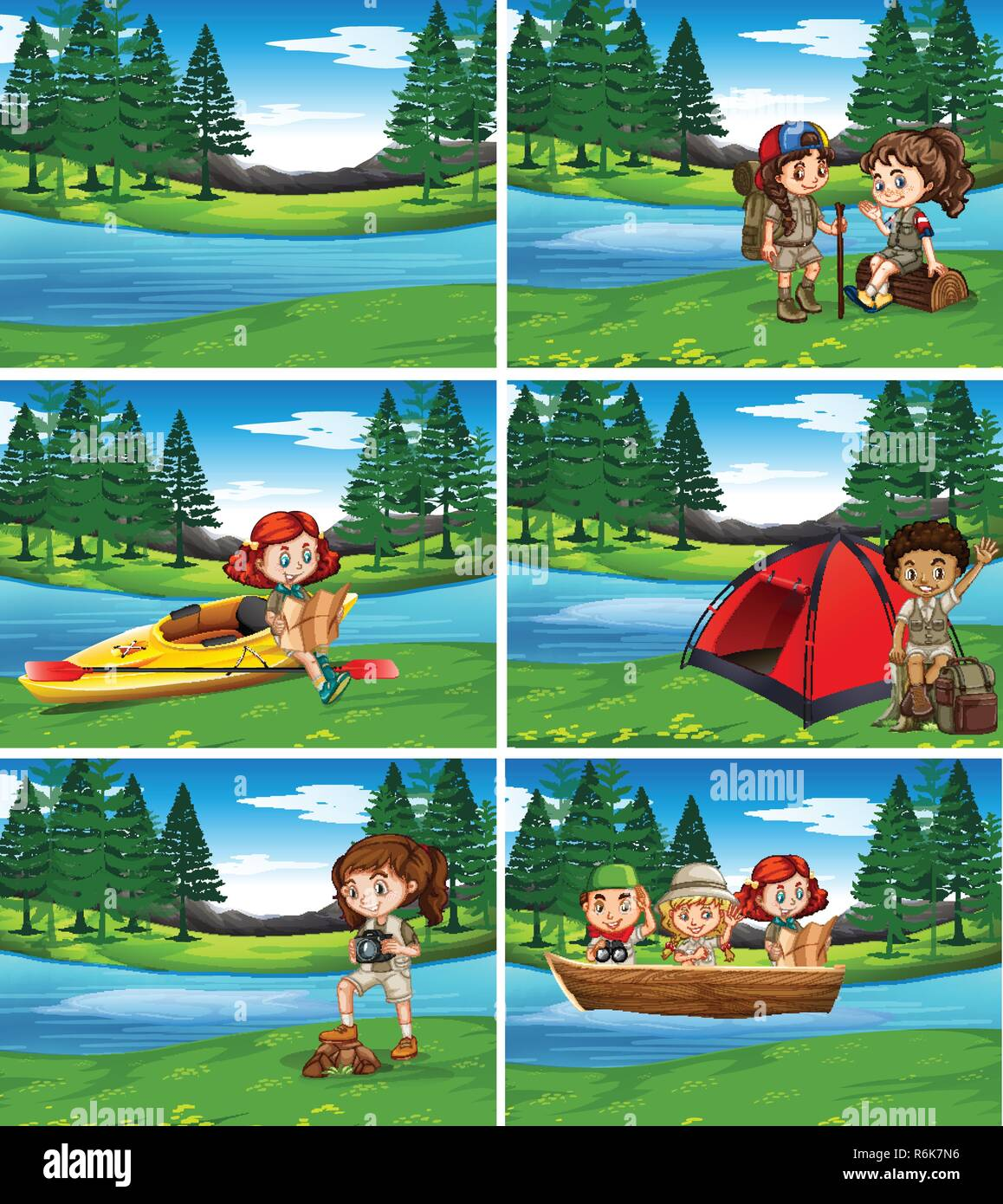 Camping kids in the nature illustration - Stock Vector