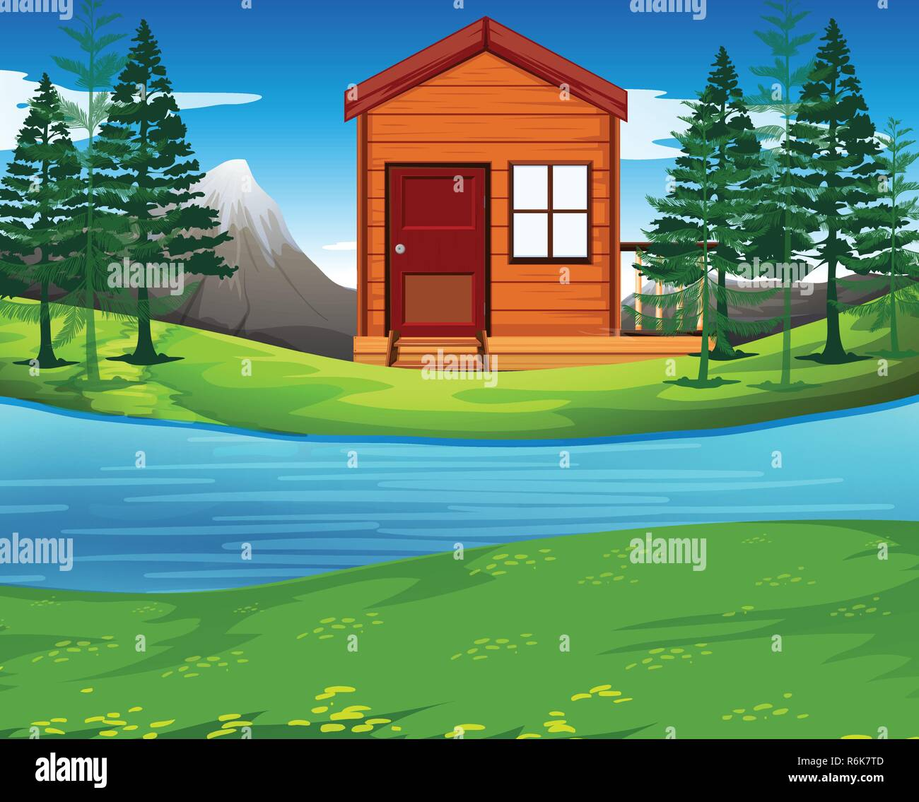 Cabin in the nature illustration - Stock Vector