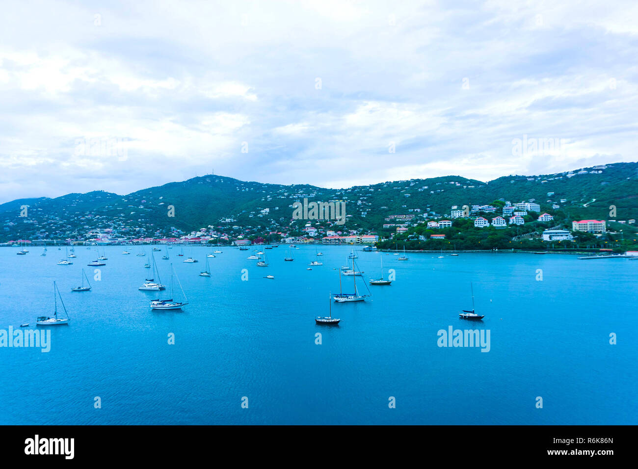 Aerial view of the island of St Thomas, USVI. Charlotte Amalie Stock Photo