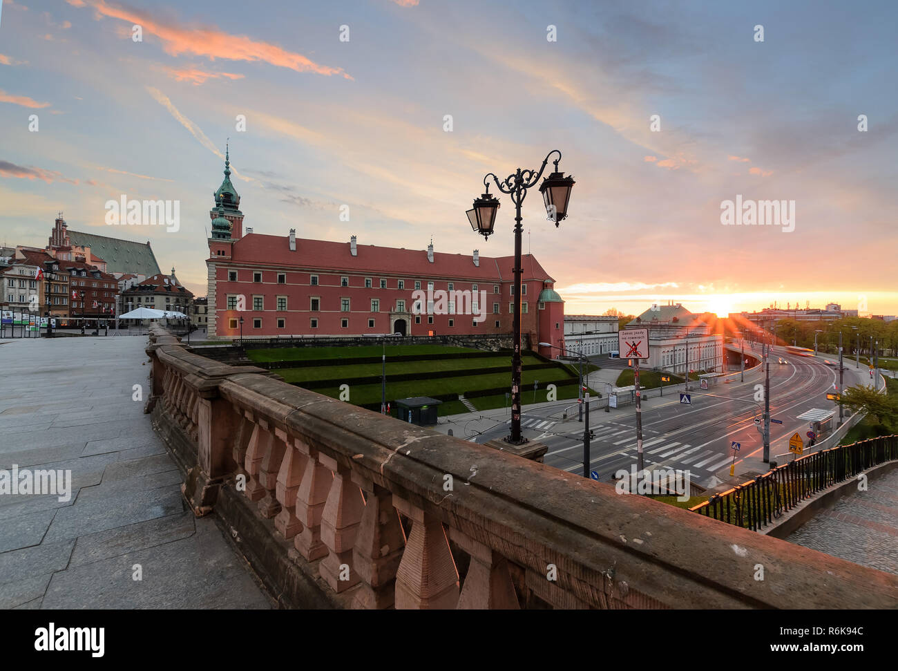 Royal castle in old town of Warsaw, Poland, Europe in sunrise time. - Stock Image
