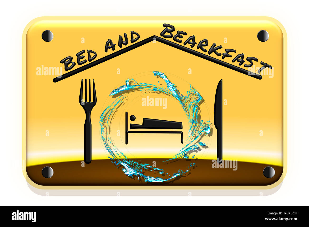 Illustration of a road sign with gradient background. Concept of bed and breakfast. Stock Photo