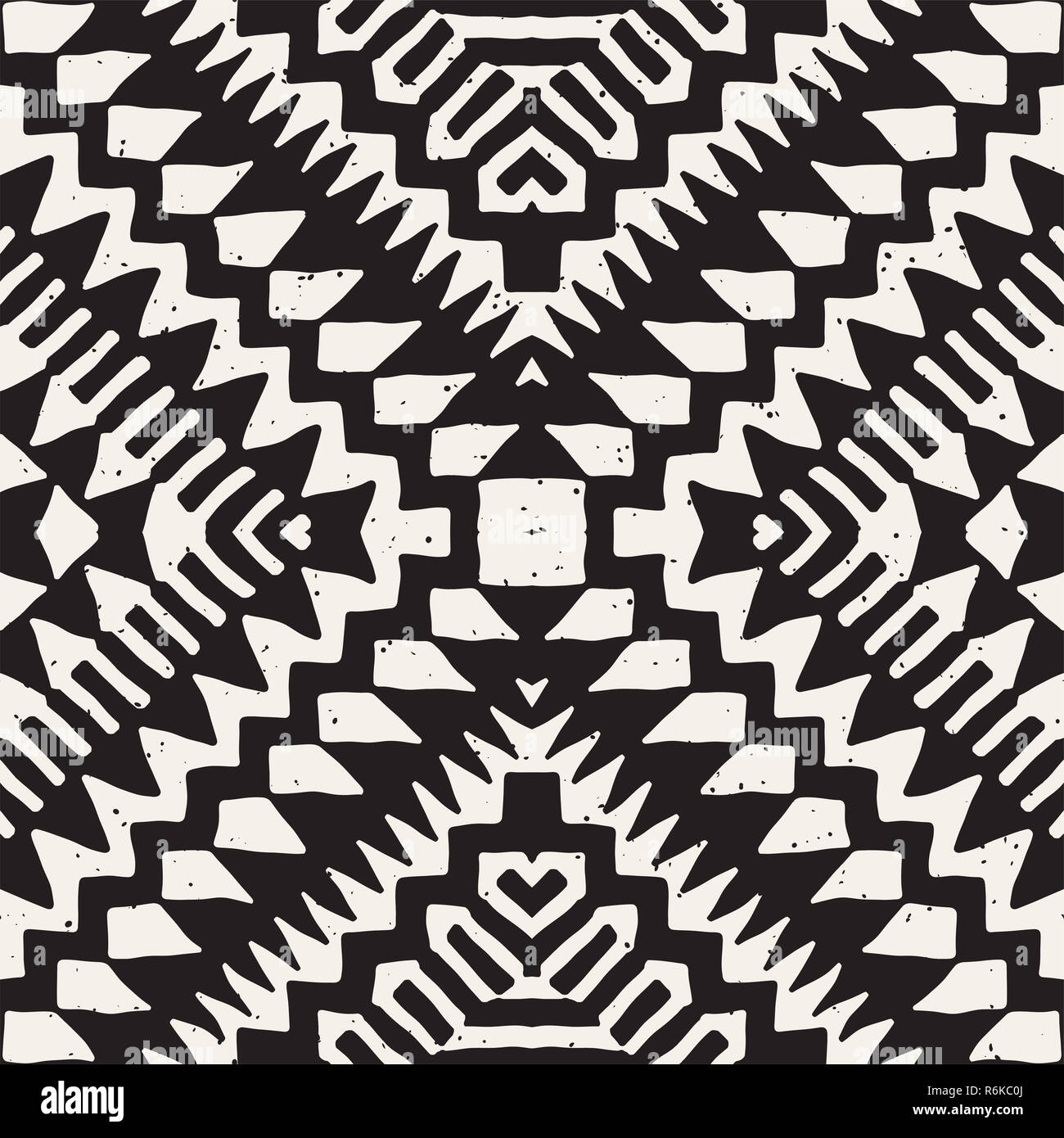 64528bcabce3c Seamless ethnic and tribal pattern. Hand drawn ornamental stripes. Black  and white print. Vector geometric background.